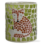 Fall critters fox mosaic glass votive holder
