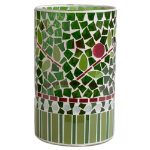 Christmas Cranberries Mosaic Glass Hurricane