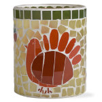 Thanksgiving turkey mosaic glass votive holder