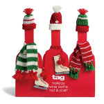 Winter Wine Bottle Hat & Scarf Accessory Set