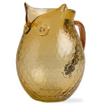 Autumn owl amber glass pitcher