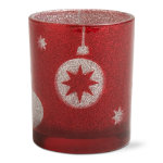 Happy Holidays Red Glitter Tealight Holder