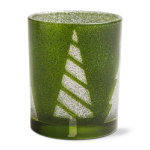 Happy Holidays Green Glitter Tealight Holder