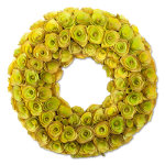 green rose floral wreath