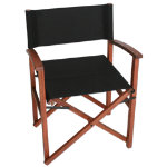 Campaign Chair-Black on Natural Frame