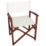 Campaign Chair-White on Natural Frame