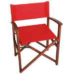 Campaign Chair-Red on Natural Frame