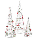 Happy Holidays Beaded Wire Tree Set of 3