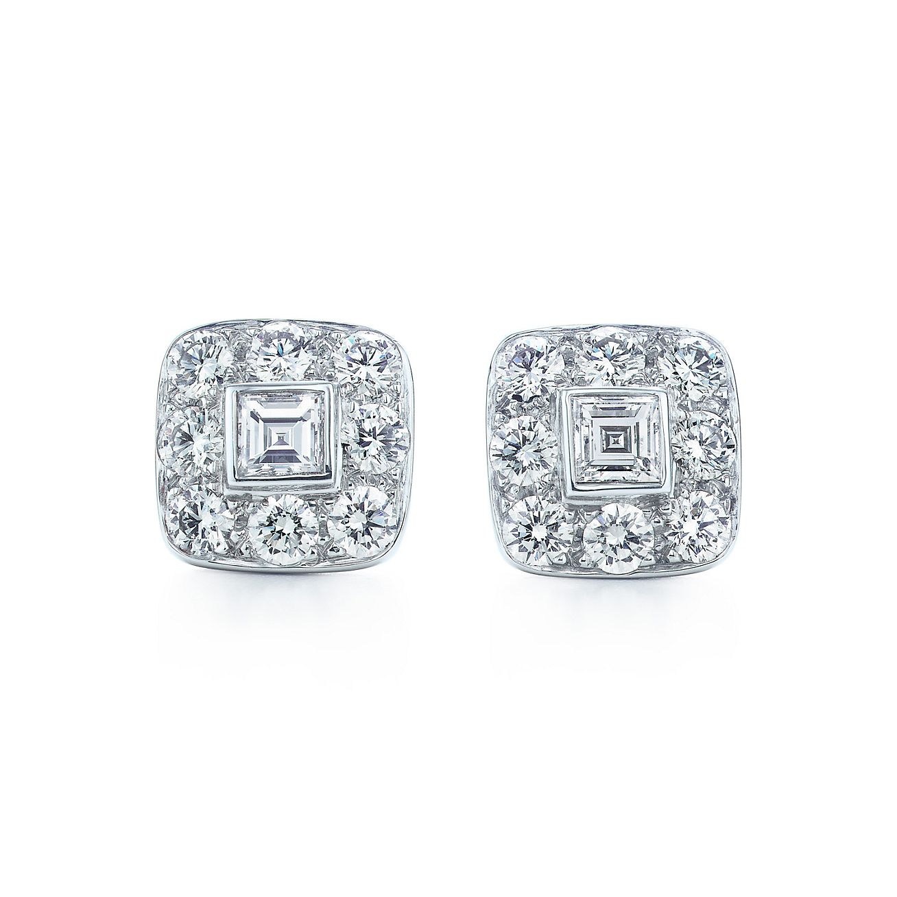 Square Earrings Of Diamonds In Platinum Tiffany Co