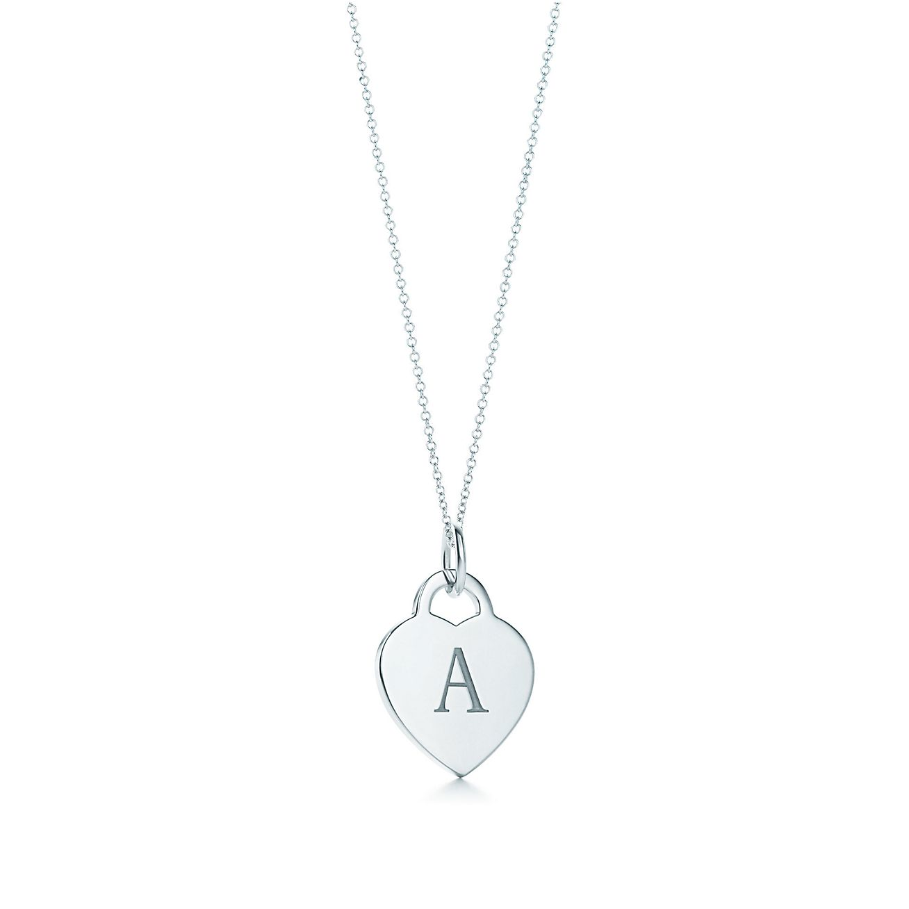 alphabet heart tag letter charm and chain