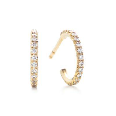 Tiffany Metro hoop earrings in 18k gold with diamonds small