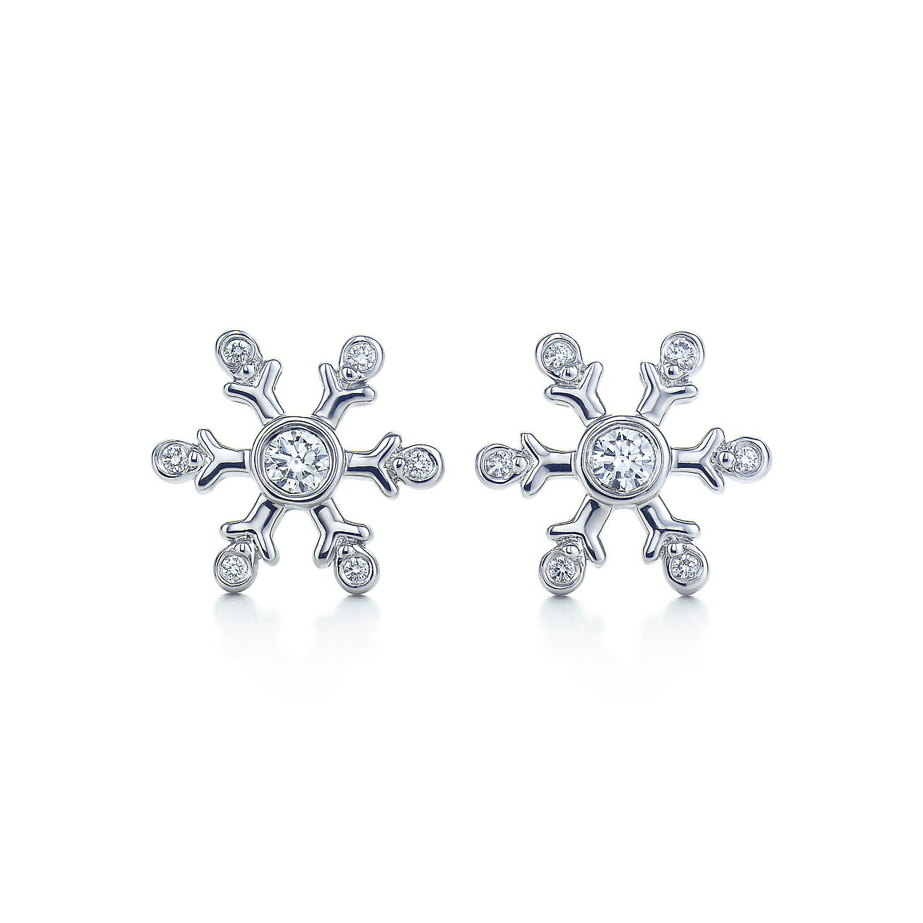 Snowflake Earrings Of Diamonds In Platinum Tiffany Co