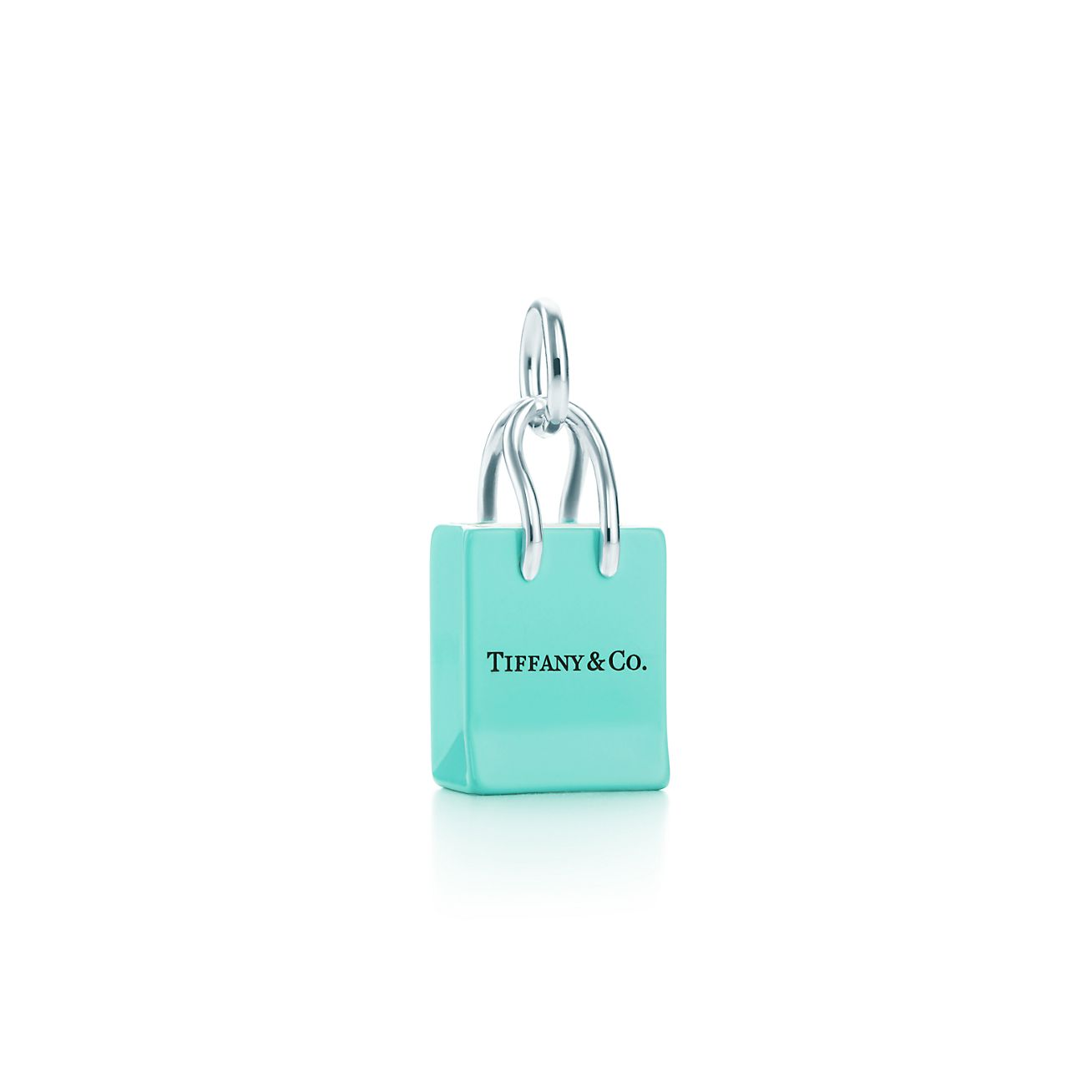 Tiffany & Co.® Shopping bag charm in sterling silver with enamel ...