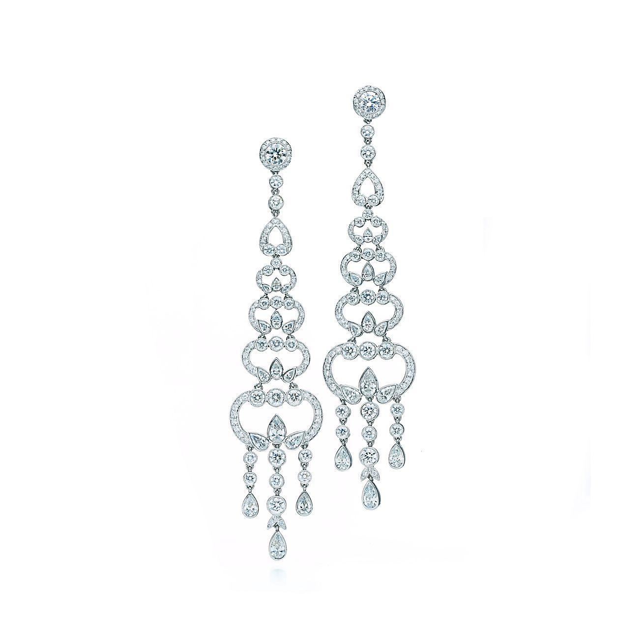 Diamond chandelier earrings in platinum – Tiffany Chandelier Earrings