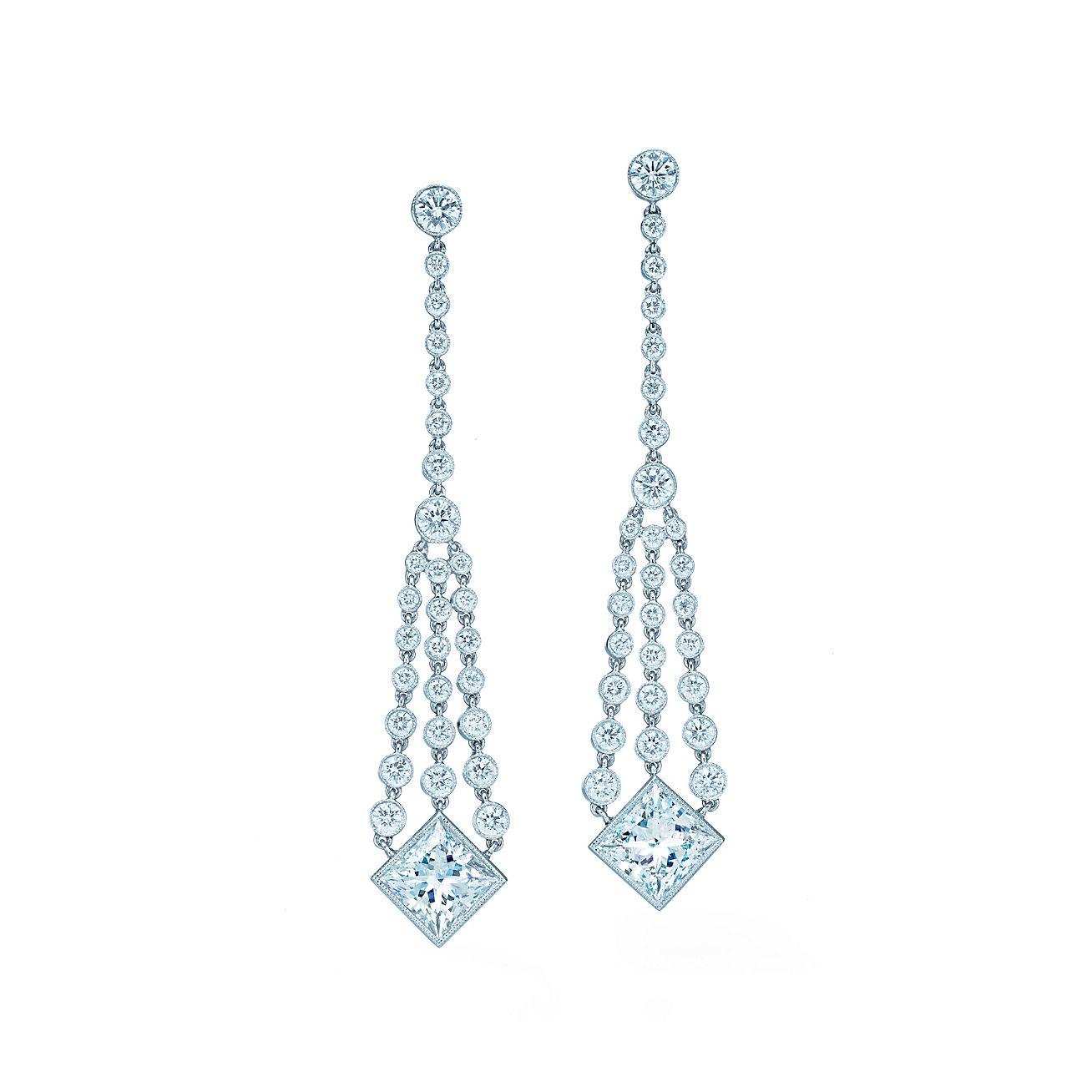 Diamond chandelier earrings of princesscut and round diamonds in – Aqua Chandelier Earrings