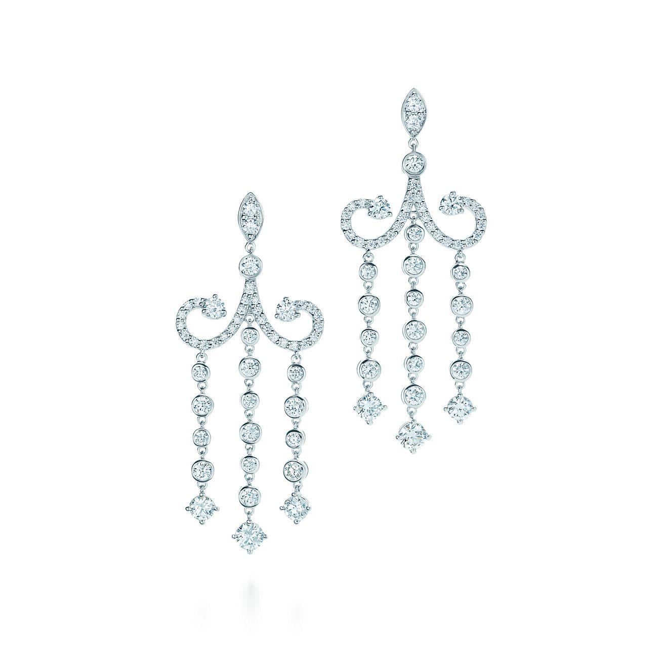 Tiffany Enchant chandelier earrings in platinum with diamonds – Tiffany Chandelier Earrings