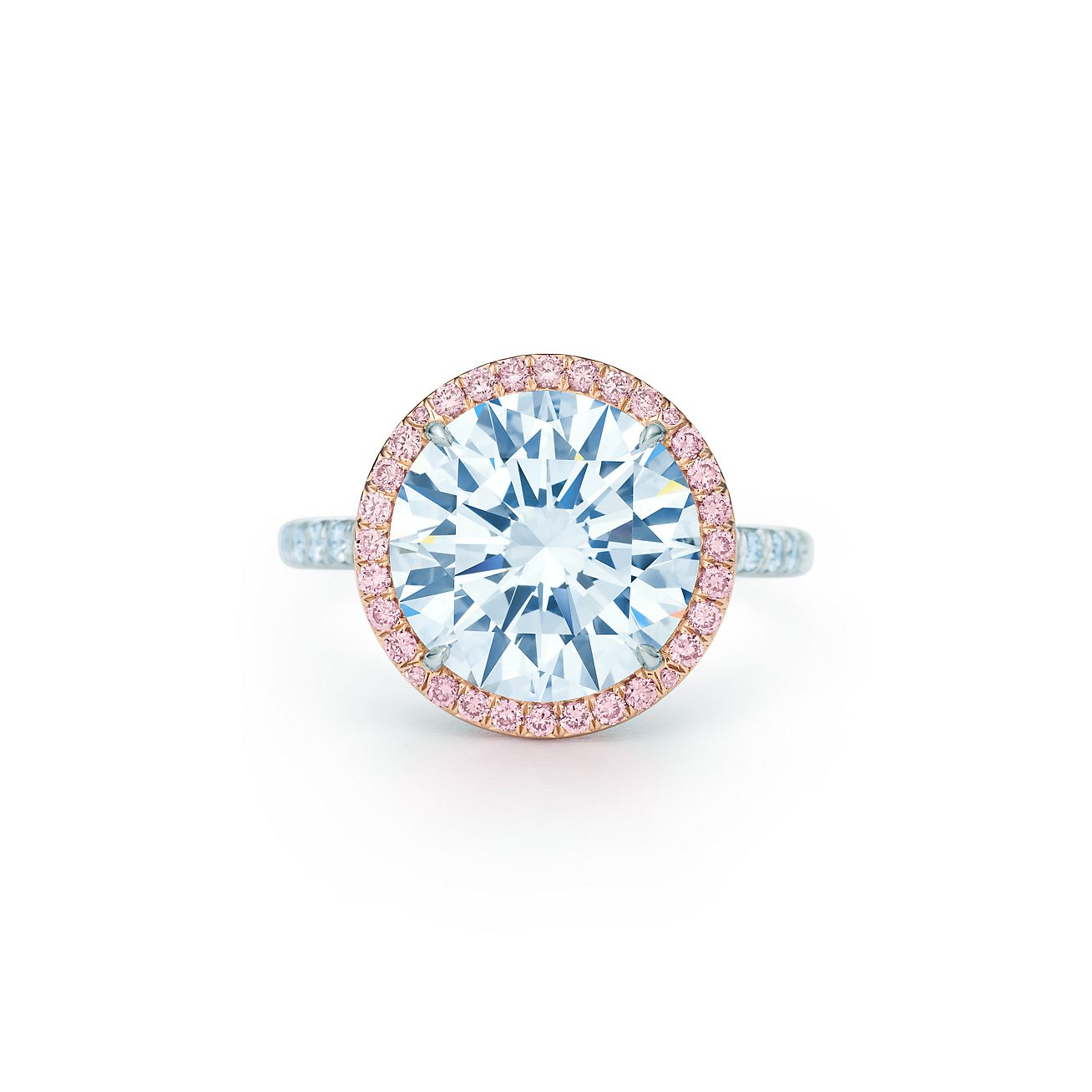 New Tiffany Soleste Diamond Ring In Platinum With White And Fancy Pink  Diamonds
