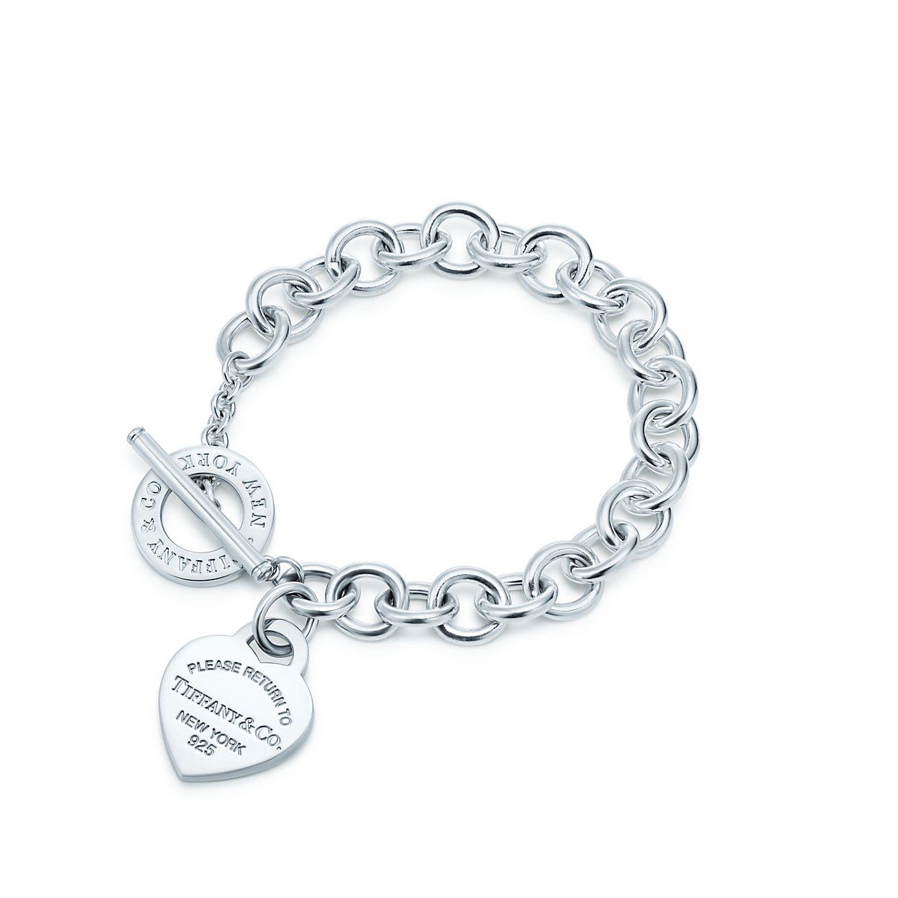 Tiffany schmuck  Armband mit Herzanhänger und Knebelverschluss in Sterlingsilber ...