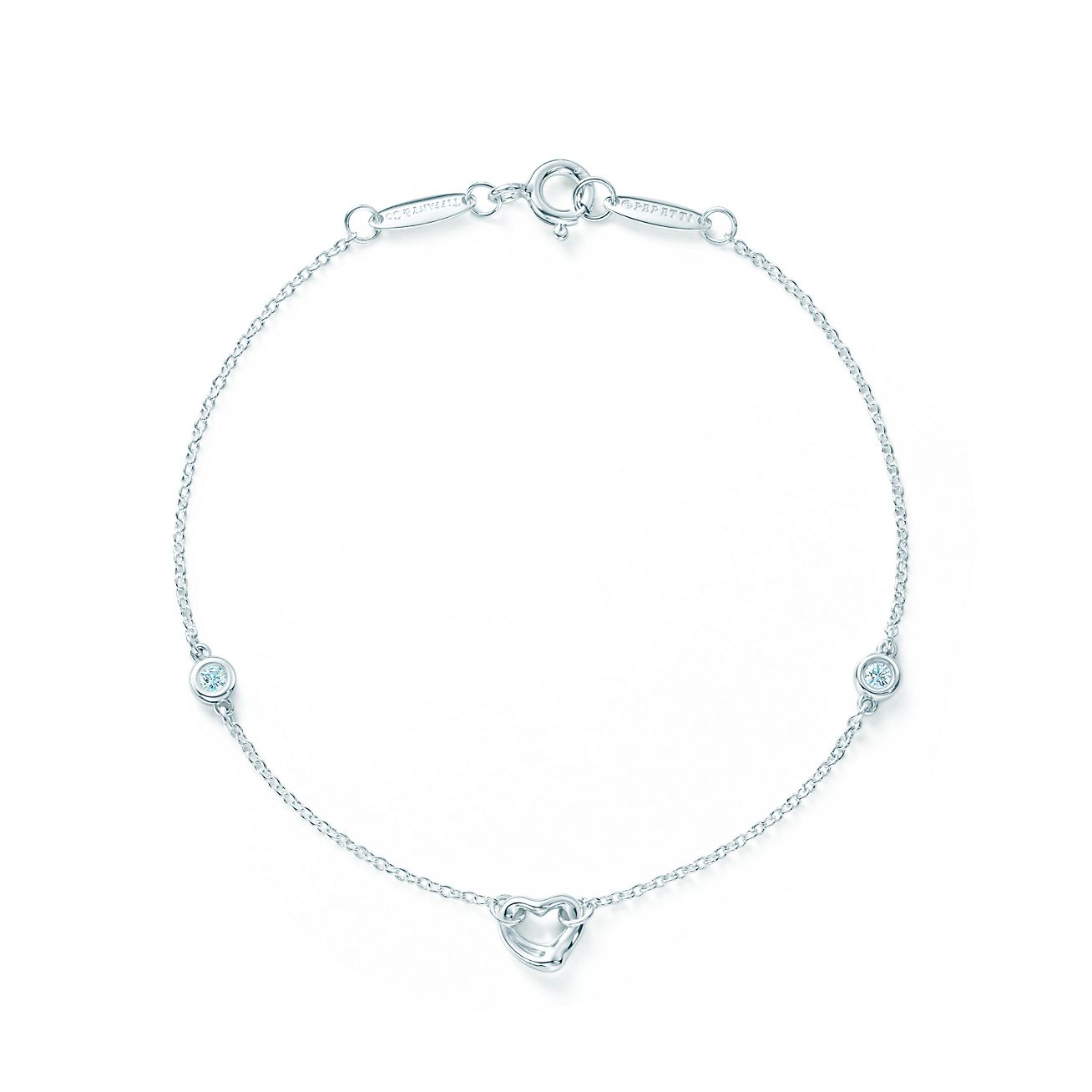 57909a400 ... tiffany co. sterling silver and diamond elsa peretti diamonds by the yard  bracelet; elsa peretti®diamonds by the yard® open heart bracelet ...