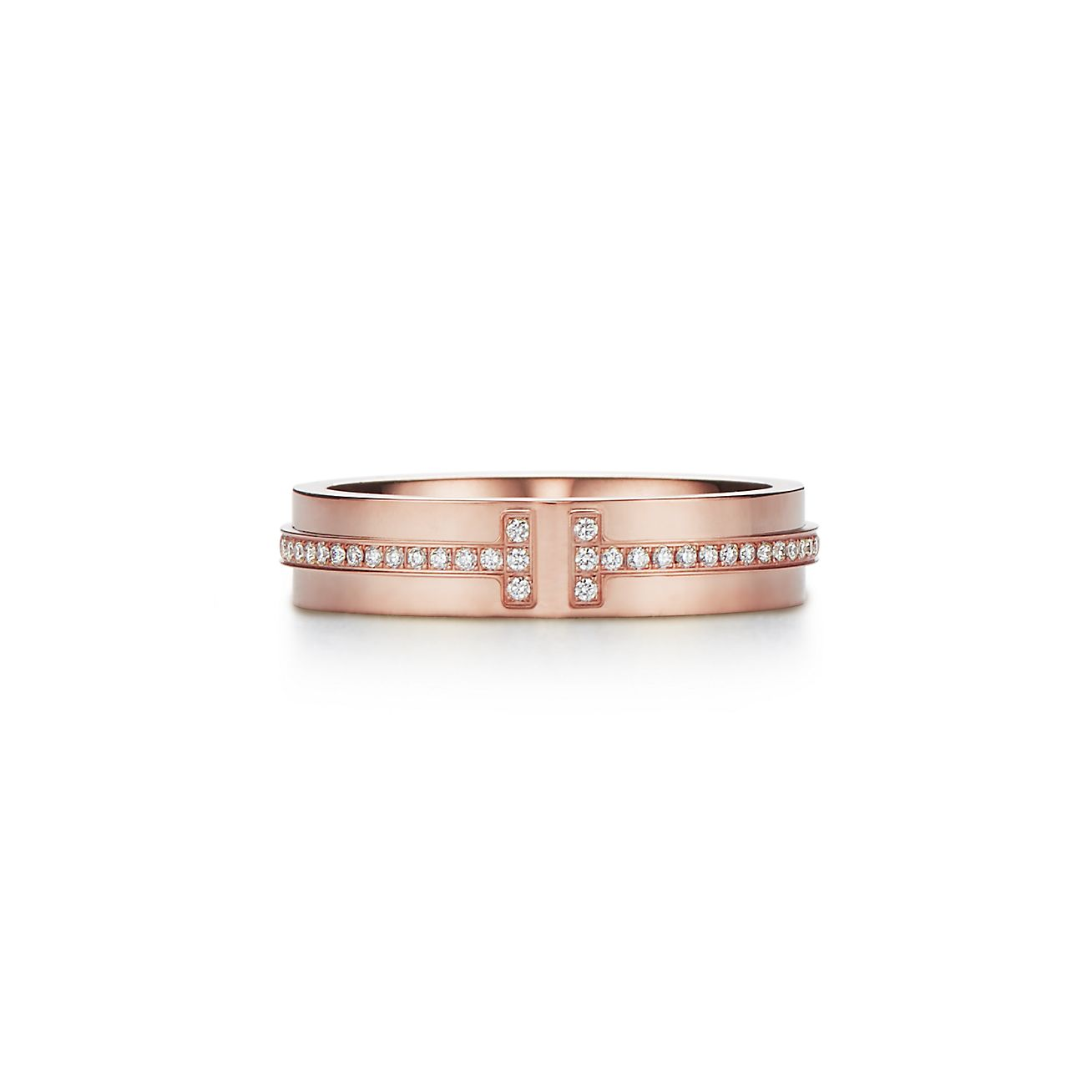 New Tiffany T Two Narrow Ring In 18k Rose Gold With Diamonds