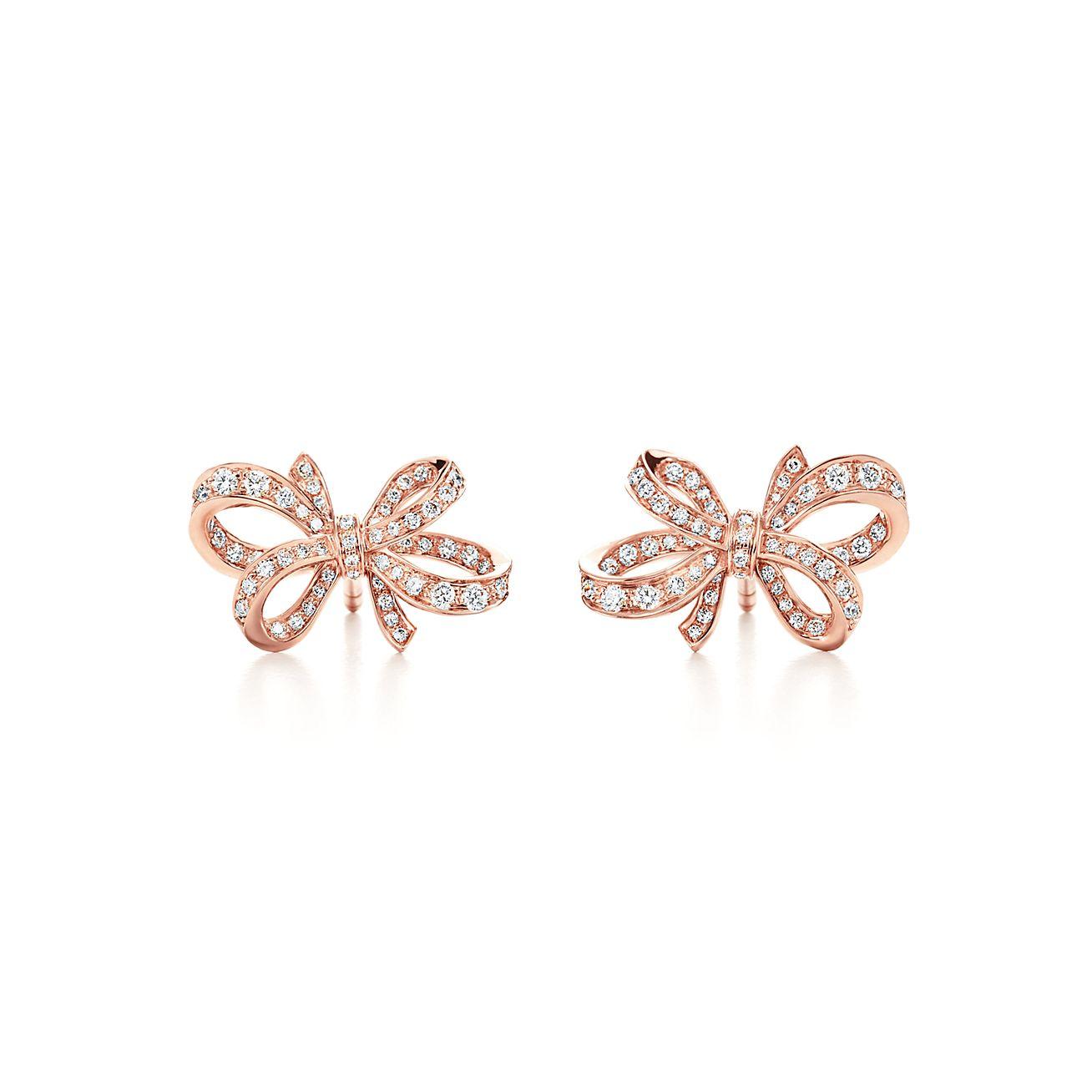 New Tiffany Bow Ribbon Earrings In 18k Rose Gold With Diamonds, Mini