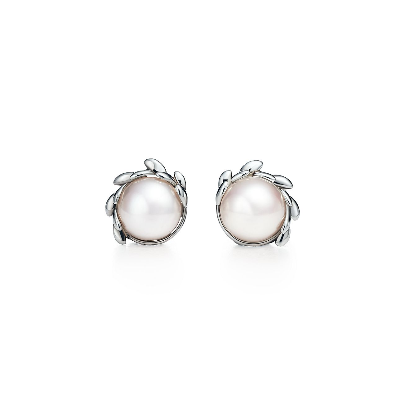 New Paloma Picasso® Olive Leaf Pearl Earrings In Sterling Silver