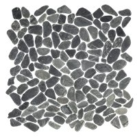 Black Sliced Pebble (vertical Medium Cut) 13 x 13 in