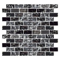 Black Magic Shimmer Brick Glass 1 x 2 in