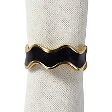 Enamel Wave Napkin Ring - Set of 4 - Black