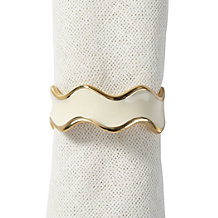 Enamel Wave Napkin Ring - Set of 4 - Ivory
