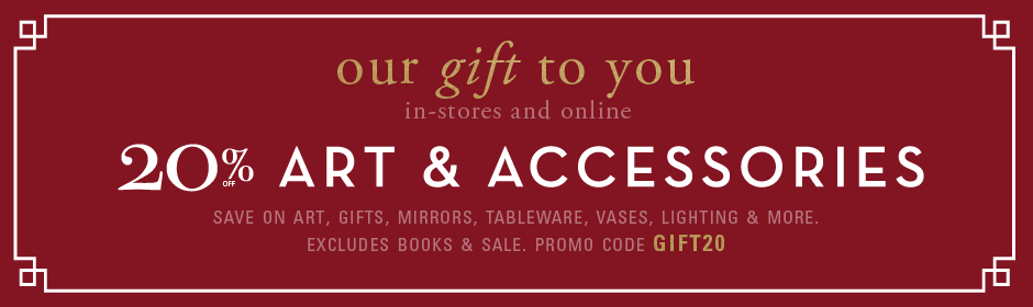 20% off art and accessories, excluding books and sale, promo code GIFT20.