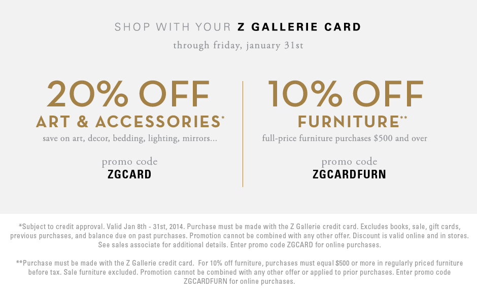 z gallerie card promotion