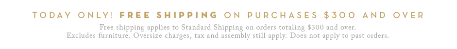 Free shipping applies to Standard Shipping on orders totaling $300 and over. Excludes furniture. Oversize charges, tax and assembly still apply. Does not apply to past orders.