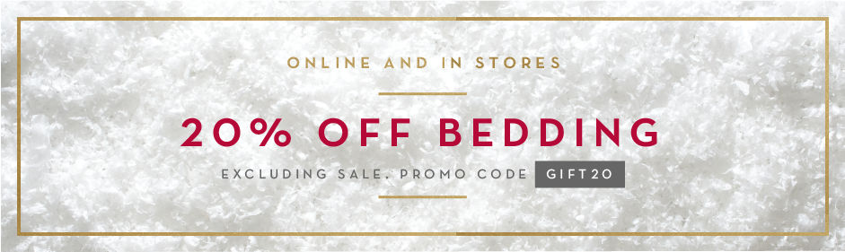 20% off bedding, pillows, throws and poufs, excluding sale. promo code GIFT20.
