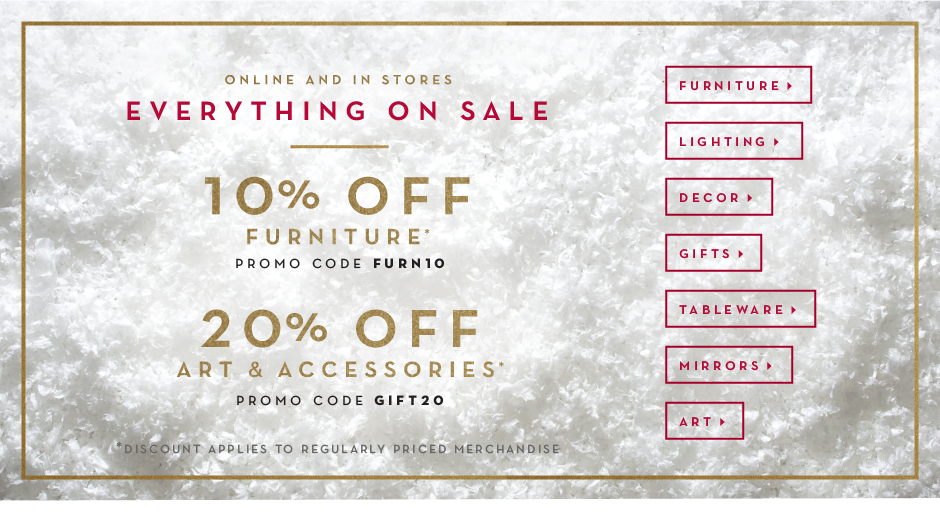 20% off art and accessories, promo code GIFT20, 10% off furniture, promo code FURN10