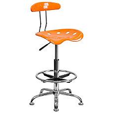 Flash Furniture Vibrant Drafting Stool OrangeChrome