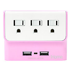 iHome Trio Multicharge Power Adapter Pink