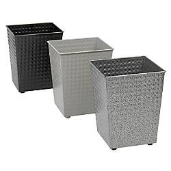 Safco Checks Round Steel Wastebasket 6