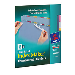 avery 8 tab clear label dividers template - avery index maker plastic label dividers with multicolor