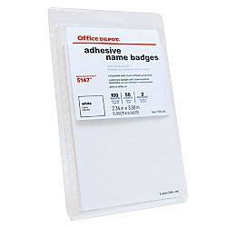 Office Depot Brand Name Badge Labels 2 1132 X 3 38 White