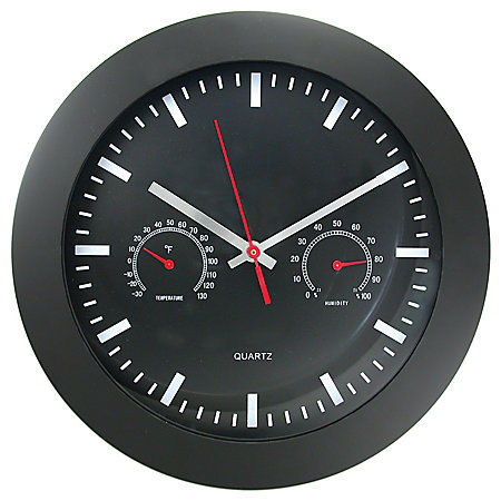 black wall clock with temperature and humidity gauges item 108297