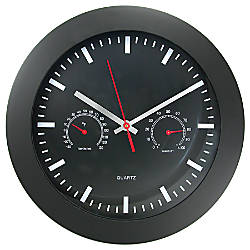 Timekeeper Round 12 Black Wall Clock