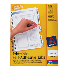 Avery Printable Self Adhesive Tabs White