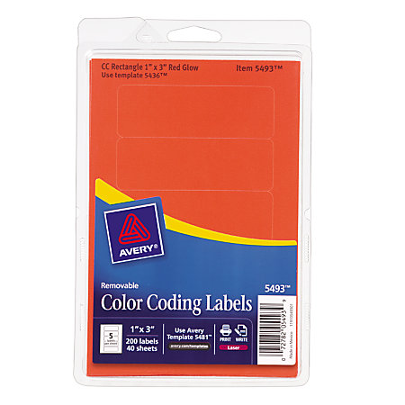 Avery Removable Rectangular Color Coding Labels 1 X 3 Red