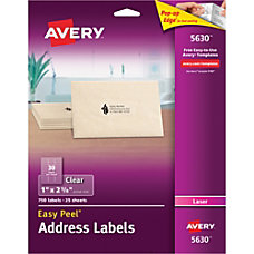Avery Easy Peel Clear Laser Address