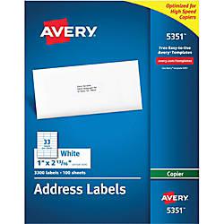 Avery White Copier Address Labels 1