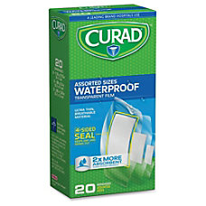 Curad Assorted Waterproof Transparent Bandages 20Box