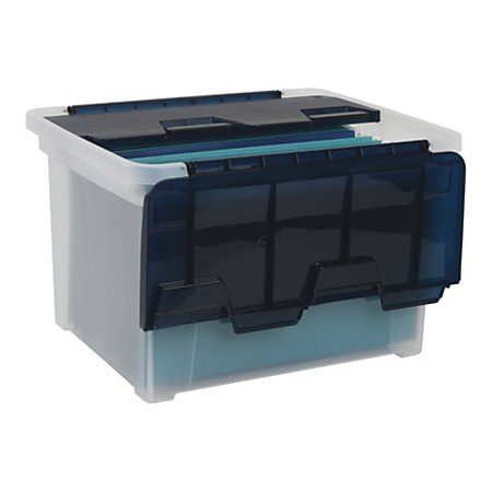 office depot brand wing lid letterlegal plastic storage box quart clearnavy blue by office. Black Bedroom Furniture Sets. Home Design Ideas