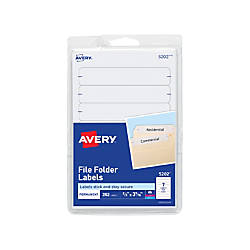 "Avery® Print-Or-Write Color Permanent Inkjet/Laser File Folder Labels, 5/8"" x 3 1/2"", White, Pack Of 252"