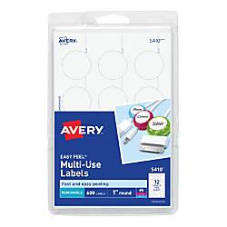 Avery Removable Round InkjetLaser Multipurpose Labels
